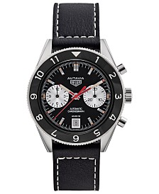 TAG Heuer Men's Swiss Automatic Chronograph Viceroy Autavia 1972 Black Leather Strap Watch 42mm - A Special Re-Edition
