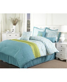 Bettina 7-Piece Comforter Set, Blue, Queen
