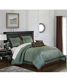 Tobey 7-Piece Comforter Set, Mineral Blue/Brown, California King