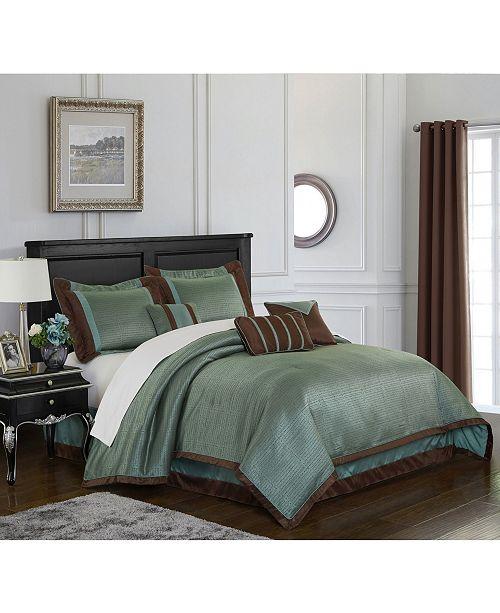 Nanshing Tobey 7-Piece Comforter Set, Mineral Blue/Brown, California King