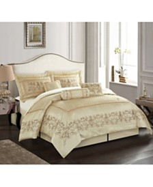 Vivian 7-Piece Comforter Set, Beige, Queen