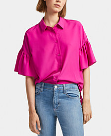 French Connection Crepe Ruffle-Sleeve Shirt