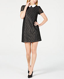 Maison Jules Collared Lace Shift Dress, Created for Macy's