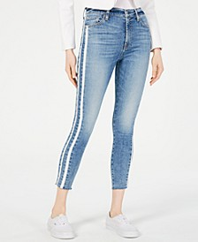 High-Waist Contrast Ankle Skinny Jeans