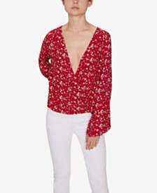 Sanctuary Cori Printed Blouson-Sleeve Top
