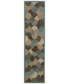 """Oriental Weavers Adrienne 3729F Beige/Blue 1'10"""" x 7'6"""" Runner Area Rug"""
