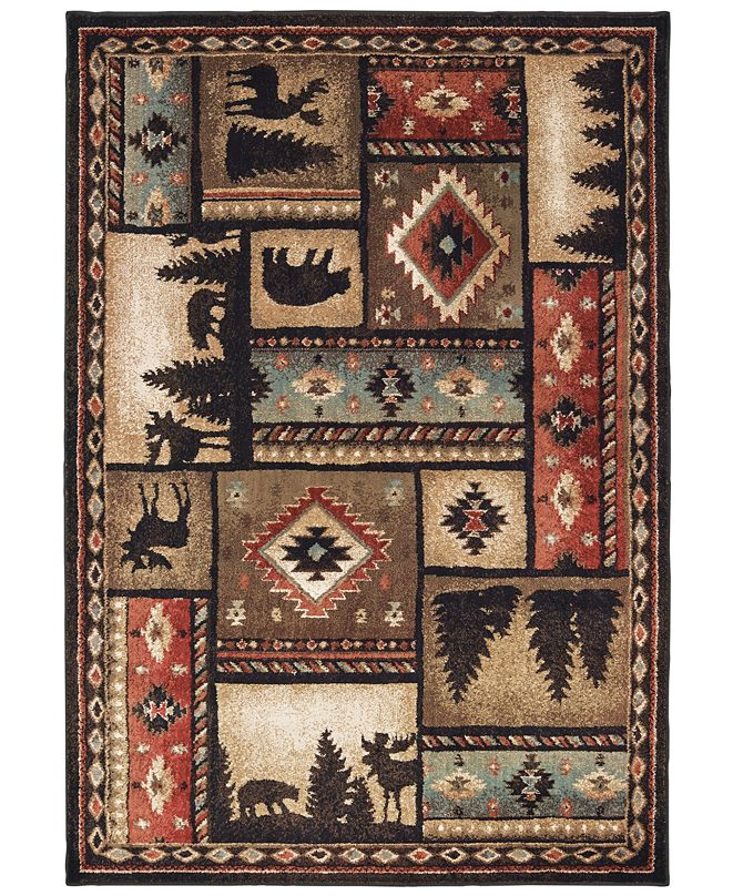 "Oriental Weavers Woodlands 1041C Black/Multi 1'10"" x 3' Area Rug"