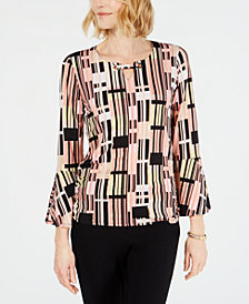 JM Collection Petite Printed Keyhole Top, Created for Macy's