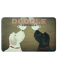 "Doodle Coffee Memory Foam Rectangle 22""x35"" Accent Rug"