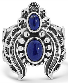American West Double Lapis Ring with Feather Scroll work in Sterling Silver