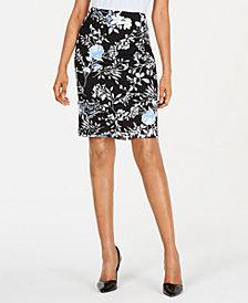Kasper Floral-Print Scuba Crepe Skirt