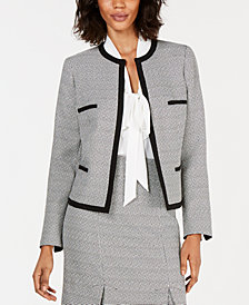 Kasper Petite Collarless Tweed Jacket