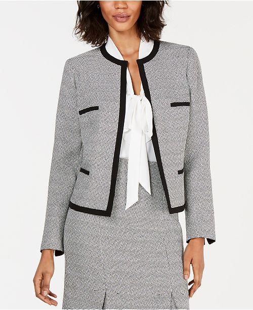 Kasper Collarless Stretch-Tweed Jacket