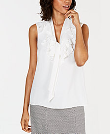 Kasper Tie-Neck Ruffled Blouse
