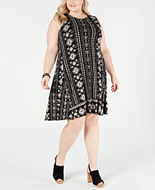 Style & Co Plus Size Printed Sleeveless Dress, Created for Macy's