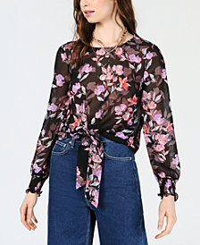Bar III Tie-Waist Printed Chiffon Top, Created for Macy's