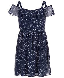 Us Angels Big Girls Dot-Print Chiffon Dress