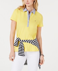 Tommy Hilfiger Short-Sleeve Chambray-Trim Polo Shirt, Created for Macy's
