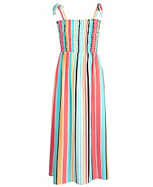 Monteau Big Girls Striped Smocked Maxi Dress