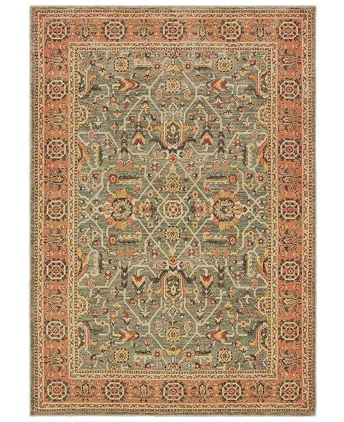 "Oriental Weavers Toscana 9537B Blue/Orange 6'7"" x 9'6"" Area Rug"
