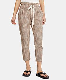 Free People Striped Cotton Tie-Waist Pants