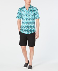 Alfani Geometric Shirt & Alfatech Shorts, Created for Macy's