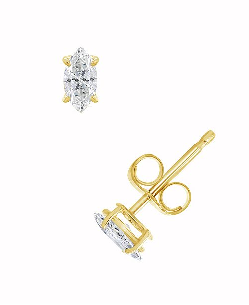 Macy's Certified Marquise Diamond Stud Earrings (1/2 ct. t.w.) in 14k White Gold or Yellow Gold