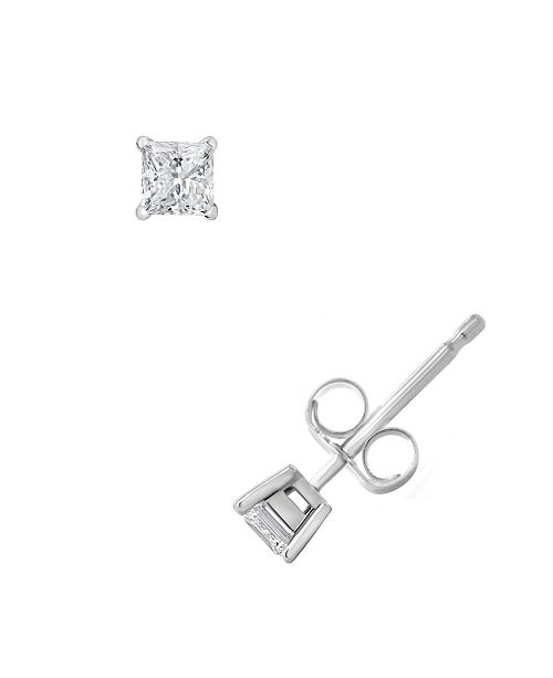 Macy's Certified Princess Cut Diamond Stud Earrings (1/4 ct. t.w.) in 14k White Gold or Yellow Gold