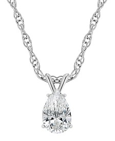 Certified Pear Shape Diamond Solitaire Pendant Necklace (1/4 ct. t.w.) in 14k White Gold or Yellow Gold