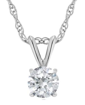 MACY'S | Certified Round Diamond Solitaire Pendant Necklace (3/4 ct. t.w.) in 14k White Gold or Yellow Gold | Goxip