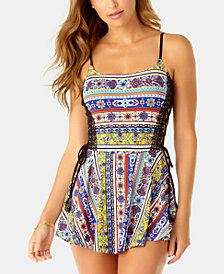 Anne Cole Studio Tile Tease Printed Lace-Up Swimdress