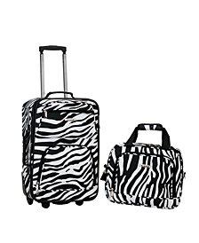 Rockland 2-Piece Zebra Luggage Set