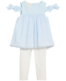 First Impressions Baby Girls 2-Pc. Tulle Bow Tunic & Leggings Set, Created for Macy's
