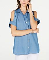 9464b63811f2f MICHAEL Michael Kors Cold-Shoulder Denim Shirt