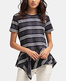 DKNY Striped Asymmetrical-Hem Top, Created for Macy's