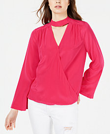 Trina Turk Fresco Silk Faux-Wrap Top