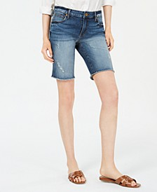Sophie Frayed-Hem Denim Bermuda Shorts