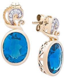London Blue Topaz (6-3/8 ct. t.w.) & Diamond Accent Drop Earrings in 14k Gold