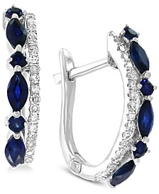 EFFY® Sapphire (7/8 ct. t.w.) & Diamond (1/10 ct. t.w.) Hoop Earrings in 14k White Gold