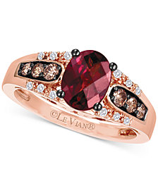 Le Vian® Raspberry Rhodolite (1-1/3 ct. t.w.), Chocolate Diamond (1/5 ct. t.w.) and Vanilla Diamond Accent Ring in 14k Rose Gold