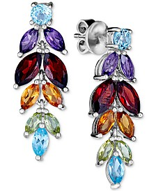 Multi-Gemstone (6-3/4 ct. t.w.) Leaf Drop Earrings in Sterling Silver