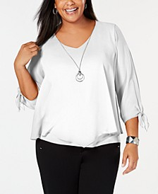 Plus Size Tie-Sleeve Necklace Top, Created for Macy's
