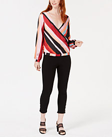Bar III Striped Surplice Blouse & Button Fringe Pants, Created for Macy's