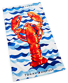"Tommy Hilfiger Painted Lobster Cotton 35"" x 66"" Beach Towel"