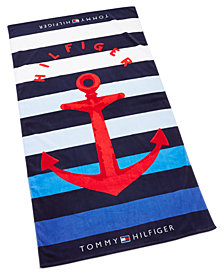 "Tommy Hilfiger Big Red Anchor Cotton 35"" x 66"" Beach Towel"