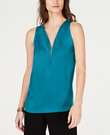 I.N.C. Petite Zip-Front Tank Top, Created for Macy's