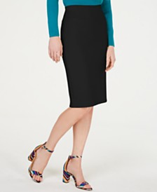 I.N.C. Petite Solid Scuba Pencil Skirt, Created for Macy's