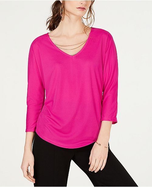 INC International Concepts I.N.C. Chain-Detail Dolman Top, Created for Macy's