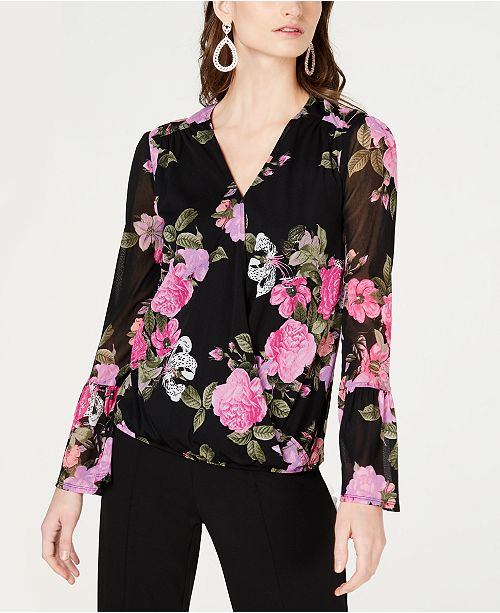 INC International Concepts INC Floral-Print Mesh Peasant Top, Created for Macy's