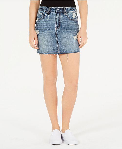 Vanilla Star Juniors' Cotton Ripped Denim Mini Skirt